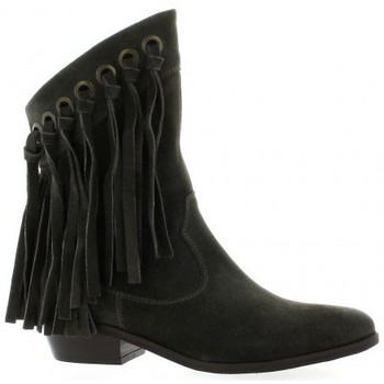 Chaussures Femme Bottines Just Juce Boots cuir velours Gris