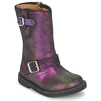 Chaussures Fille Bottes ville Pom d'Api HIKE BIKER Violet