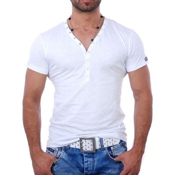 Vêtements Homme T-shirts & Polos Young And Rich T shirt blanc col v T shirt YR1444 blanc Blanc