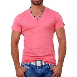 Vêtements Homme T-shirts & Polos Young And Rich T shirt blanc col v T shirt YR1444 rose Rose