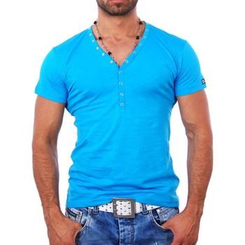 Vêtements Homme T-shirts & Polos Young & Rich T shirt blanc col v T shirt YR1444 bleu Bleu