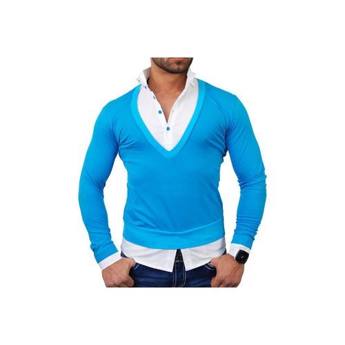 Vêtements Homme Pulls Tazzio Pull chemise 2 en 1 Pull TZ724 bleu Bleu