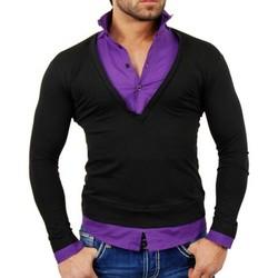 Vêtements Homme Pulls Tazzio Pull chemise 2 en 1 Pull TZ724 violet Violet
