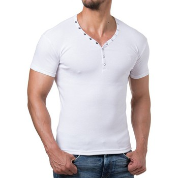 Vêtements Homme T-shirts & Polos Young & Rich T shirt homme fashion T shirt 873 blanc col v Blanc