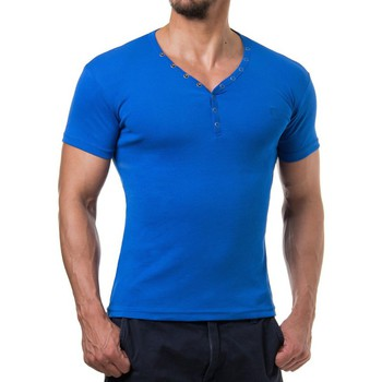 Vêtements Homme T-shirts & Polos Young & Rich T shirt homme fashion T shirt 873 bleu roi Bleu