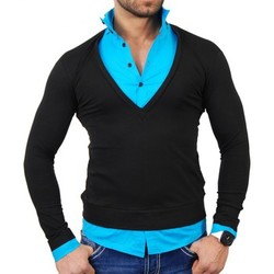Vêtements Homme Pulls Tazzio Pull chemise homme Pull TZ724 Noir et bleu Bleu