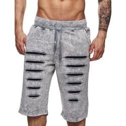 Vêtements Homme Shorts / Bermudas Monsieurmode Bermuda homme déchiré Bermuda 658 gris clair Gris