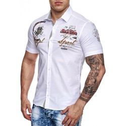 Vêtements Homme Chemises manches courtes Monsieurmode Chemisette fashion homme Chemisette 55 blanc Blanc