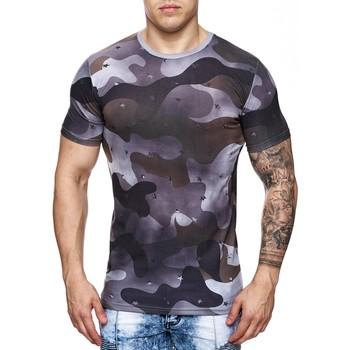 Vêtements Homme T-shirts manches courtes Monsieurmode Tee-shirt mili homme Tee shirt 708 noir Noir