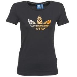 Vêtements Femme T-shirts manches courtes adidas Originals LEO TREFOIL TEE Noir