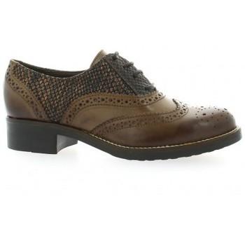 Chaussures Femme Richelieu Donna Più Derby cuir python Cognac