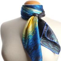 Accessoires textile Femme Echarpes / Etoles / Foulards Silkart Carré de soie  Van Gogh Nuit étoilée - 85x85 cm Bleu