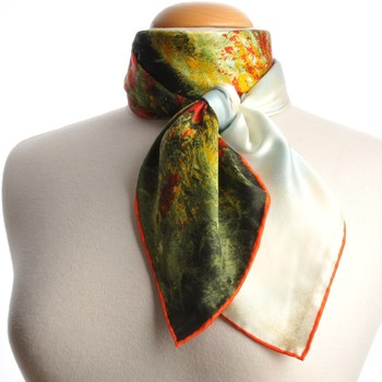 Accessoires textile Femme Echarpes / Etoles / Foulards Silkart Carré de soie  Claude Monet Les Coquelicots - 85x85 cm vert