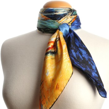 Accessoires textile Femme Echarpes / Etoles / Foulards Silkart Carré de soie  Van Gogh L'église d'Auvers - 85x85 cm Bleu