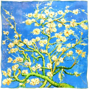 Accessoires textile Femme Echarpes / Etoles / Foulards Silkart Carré de soie  Van Gogh Amandiers en fleurs - 85x85 cm Bleu