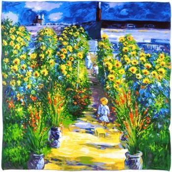 Echarpes / Etoles / Foulards Silkart Carré de soie  Claude Monet Jardin de l'artiste à Vetheuil