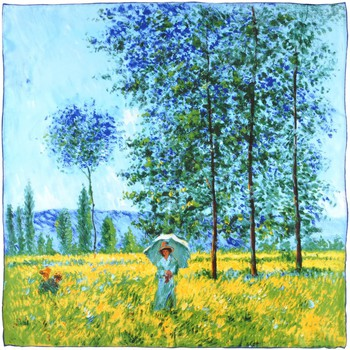 Accessoires textile Femme Echarpes / Etoles / Foulards Silkart Carré de soie  Claude Monet Sous les peupliers, effet de soleil Bleu