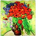 Silkart Carré de soie  Van Gogh Vase marguerites et coquelicots - 85x85