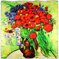 Accessoires textile Femme Echarpes / Etoles / Foulards Silkart Carré de soie  Van Gogh Vase marguerites et coquelicots - 85x85 vert