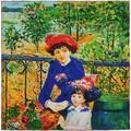 Silkart Carré de soie  Auguste Renoir Sur la terrasse - 85x85 cm