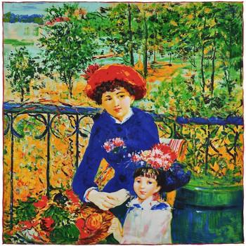 Accessoires textile Femme Echarpes / Etoles / Foulards Silkart Carré de soie  Auguste Renoir Sur la terrasse - 85x85 cm vert