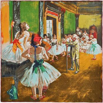 Echarpes / Etoles / Foulards Silkart Carré de soie  Edgar Degas La classe de danse