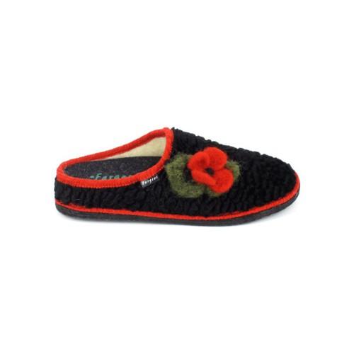 Chaussures Femme Chaussons Fargeot Siberie Noir Fleur Noir