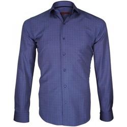 Vêtements Homme Chemises manches longues Andrew Mc Allister chemise fil a fil barking bleu Bleu