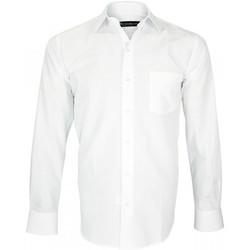 Vêtements Homme Chemises manches longues Emporio Balzani chemise tissu armure classico blanc Blanc