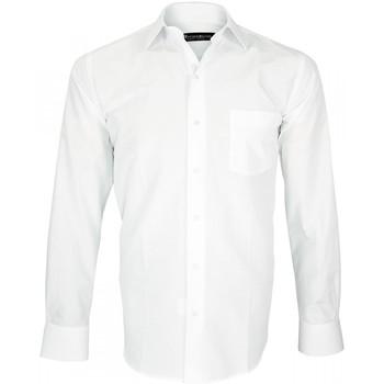 Chemises manches longues Emporio Balzani chemisette tissu armure classico blanc