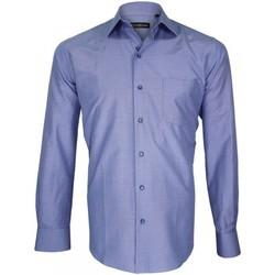 Vêtements Homme Chemises manches longues Emporio Balzani chemise fil a fil classico bleu Bleu