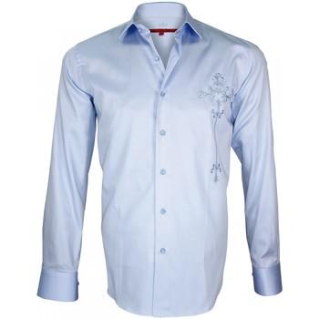 Vêtements Homme Chemises manches longues Andrew Mc Allister chemise brodee leeds bleu Bleu