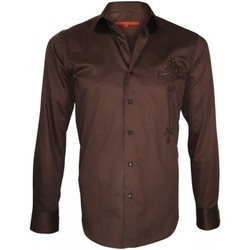 Chemises manches longues Andrew Mc Allister chemise brodee leeds marron