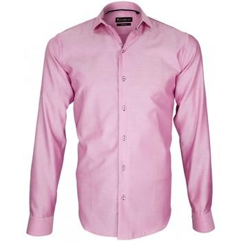 Vêtements Homme Chemises manches longues Emporio Balzani chemise tissu armure porfirio rose Rose