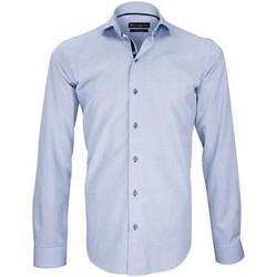 Vêtements Homme Chemises manches longues Emporio Balzani chemise fil a fil ginger bleu Bleu