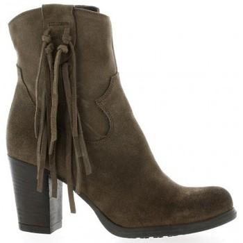 Chaussures Femme Bottines Life Boots cuir velours Taupe
