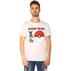 Vêtements Femme T-shirts manches courtes Jack & Jones T-shirt HOMME - POKEMON TEE SS CREW NECK_WHITE/REG Blanc