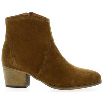 Chaussures Femme Bottines Reqins Boots cuir velours Camel