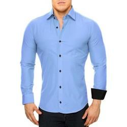 Chemises manches longues Monsieurmode Chemise homme élégante Chemise 44 bleu clair