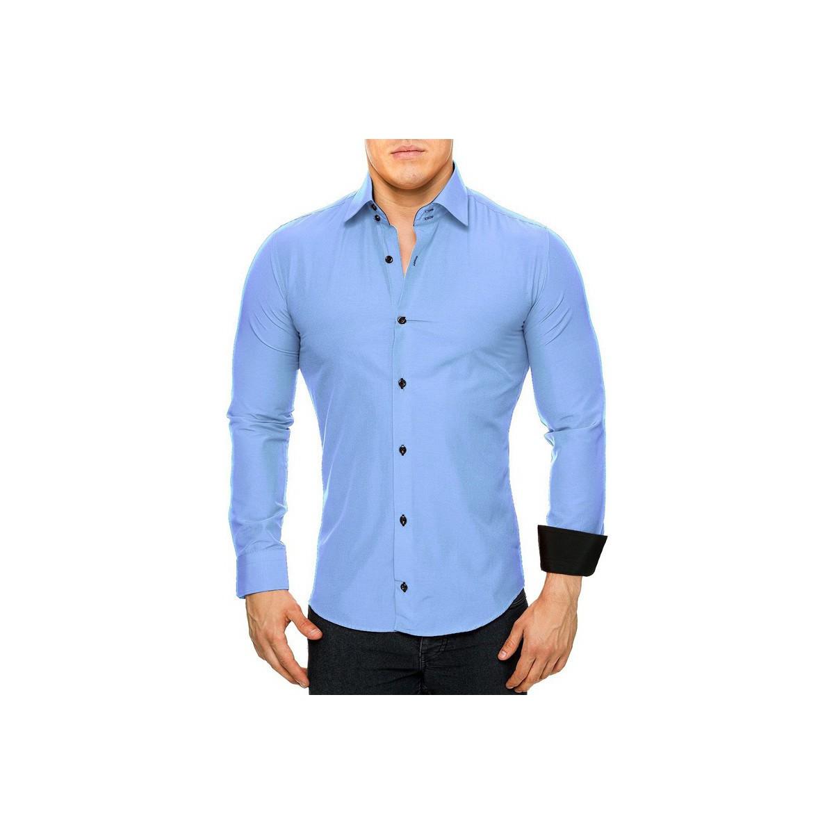 monsieurmode chemise homme l gante chemise 44 bleu clair bleu v tements chemises manches. Black Bedroom Furniture Sets. Home Design Ideas