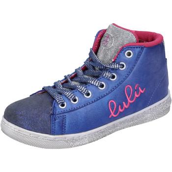 Chaussures Fille Baskets montantes Lulu chaussures fille ' sneakers bleu textile argent daim AH227 bleu