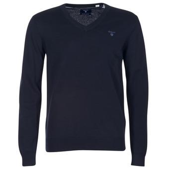Vêtements Homme Pulls Gant WEIGHT COTTON V NECK Marine
