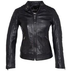 Vêtements Femme Vestes en cuir / synthétiques Schott BLOUSON CUIR MOTARD  NOIR Noir
