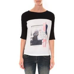 Vêtements Femme T-shirts manches longues Coquelicot Tee shirt  Noir & Blanc 16409 Noir