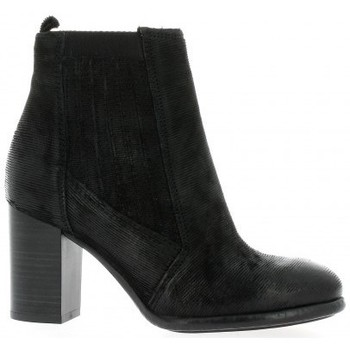 Chaussures Femme Bottines Pao Boots cuir iguane Noir