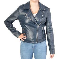 Vêtements Femme Vestes en cuir / synthétiques Serge Pariente Blouson en Cuir  City Girl Navy Bleu