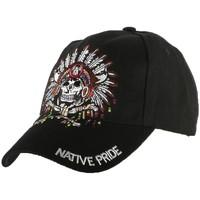 Accessoires textile Garçon Casquettes Nyls Création Casquette Biker Native Pride Indien US Noir