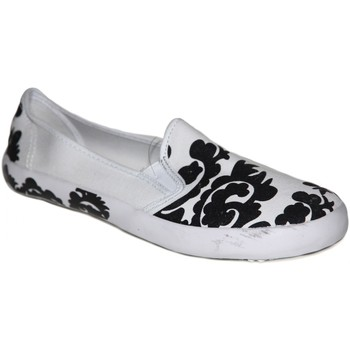 Chaussures Femme Slips on Draven samples shoes  POMPON ROUND SLIP ON WHITE BLACK WOMEN Blanc
