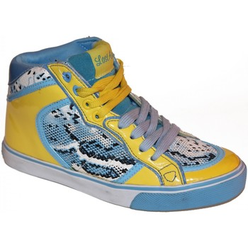 Baskets montantes Lost Angels samples shoes HI TOP  SNAKE BLUE YELLOW WOMEN