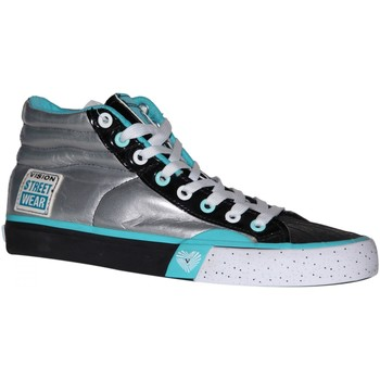 Baskets montantes Vision Street Wear samples shoes  PATENT HI SILVER BLACK BLUE